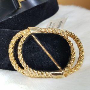 Vintage Accessories - Vintage plus Nan Lewis gold buckle velvet belt